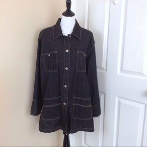 Denim & Co black denim button up long jacket